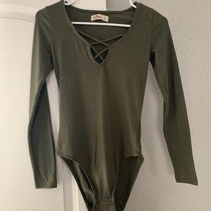 Hollister Small bodysuit olive green NWOT